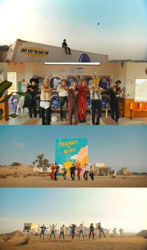 """This compilation image, provided by Big Hit Music, shows images from BTS' new music video """"Permission to Dance,"""" released on July 9, 2021. (PHOTO NOT FOR SALE) (Yonhap)"""