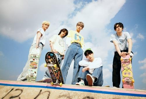 This photo, provided by Big Hit Music, shows boy band Tomorrow X Together. (PHOTO NOT FOR SALE) (Yonhap)