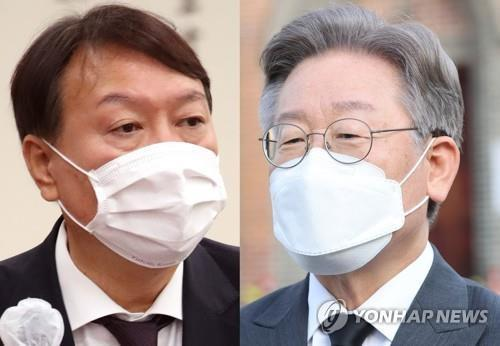 This composite file photo shows former Prosecutor General Yoon Seok-youl (L) and Gyeonggi Province Gov. Lee Jae-myung, two leading candidates for the next presidential election. (Yonhap)