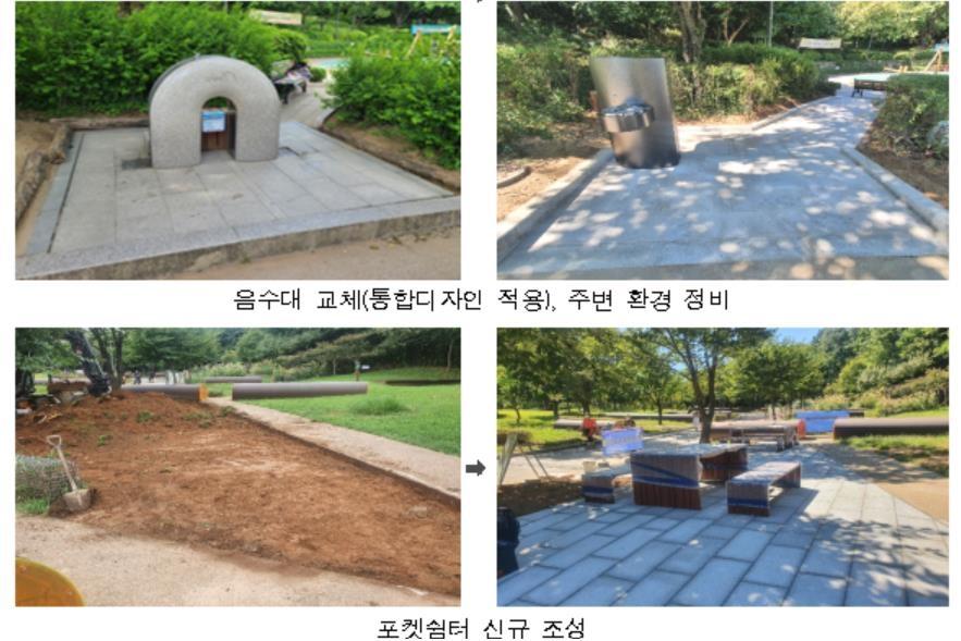 서서울호수공원 무장애 친화공원 조성 전·후