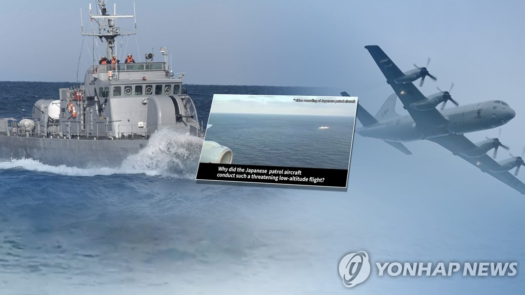This image, provided by Yonhap News TV, shows a South Korean warship and Japanese patrol aircraft. (Yonhap)