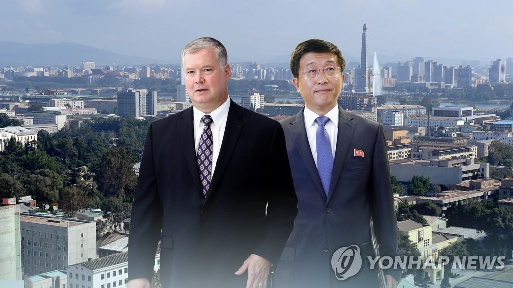 비건 美대북대표 6일 방북…평양서 김혁철과 실무협상 (CG)