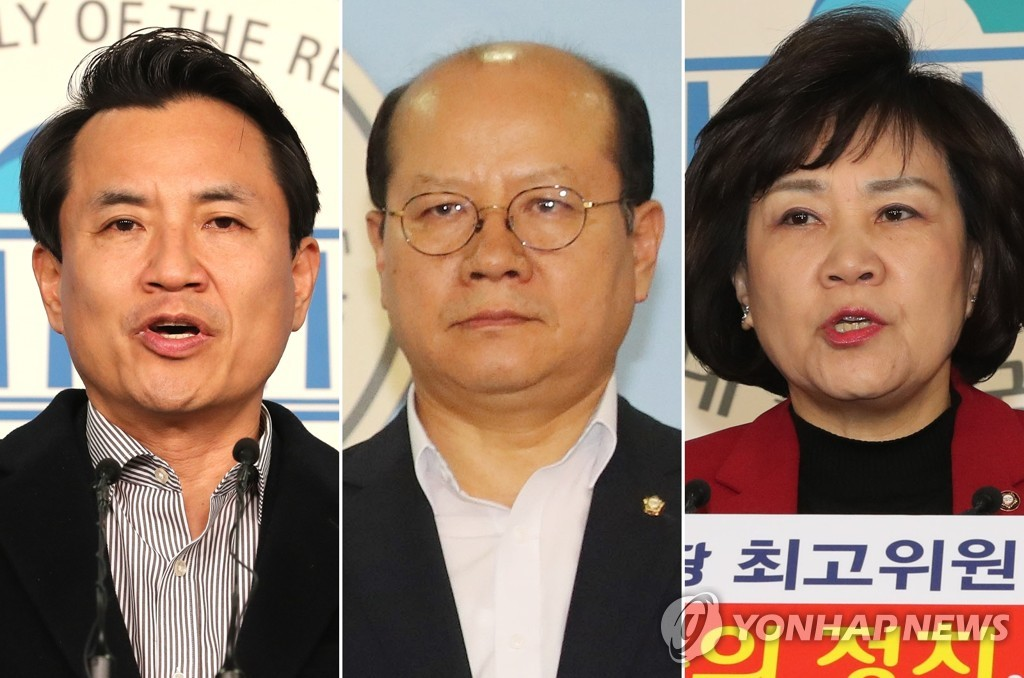 These images, from left to right, show Rep. Kim Jin-tae, Lee Jong-myeong and Kim Soon-rye of the main opposition Liberty Korea Party. (Yonhap)