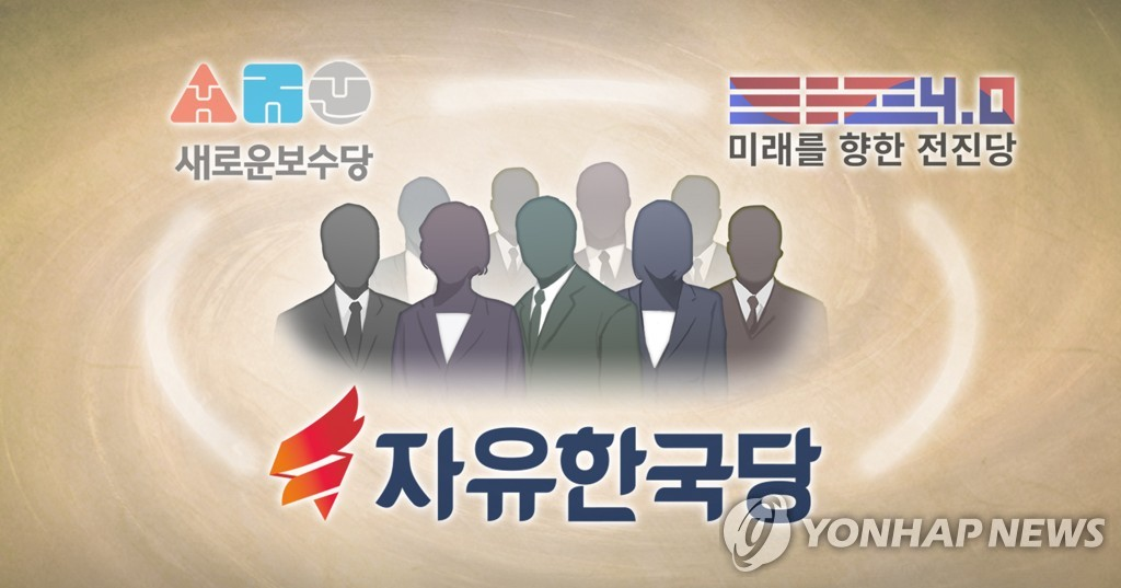 This image shows a proposed merger by the main opposition Liberty Korea Party and two minor parties -- the New Conservative Party and Onward for Future 4.0. (Yonhap)