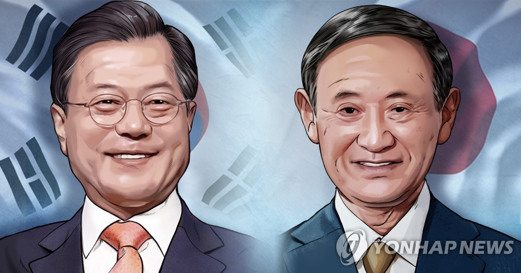 A combined image of South Korean President Moon Jae-in (L) and Japanese Prime Minister Yoshihide Suga (Yonhap)