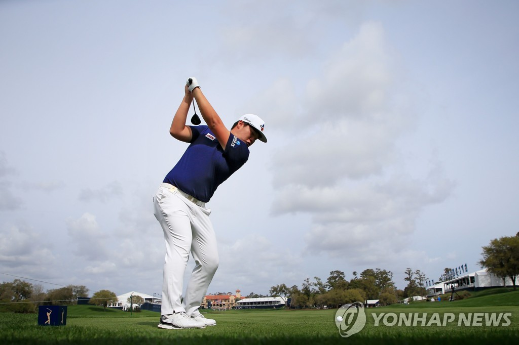 In this Getty Images photo, Im Sung-jae of South Korea hits a tee shot at the 18th hole during a practice round for The Players Championship at TPC Sawgrass in Ponte Vedra Beach, Florida, on March 10, 2020. (Yonhap)