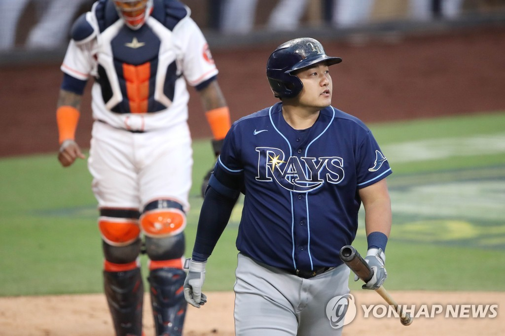 In this Getty Images photo, Choi Ji-man of the Tampa Bay Rays reacts after striking out against Zack Greinke of the Houston Astros during the top of the second inning of Game 4 of the American League Championship Series at Petco Park in San Diego on Oct. 14, 2020. (Yonhap)