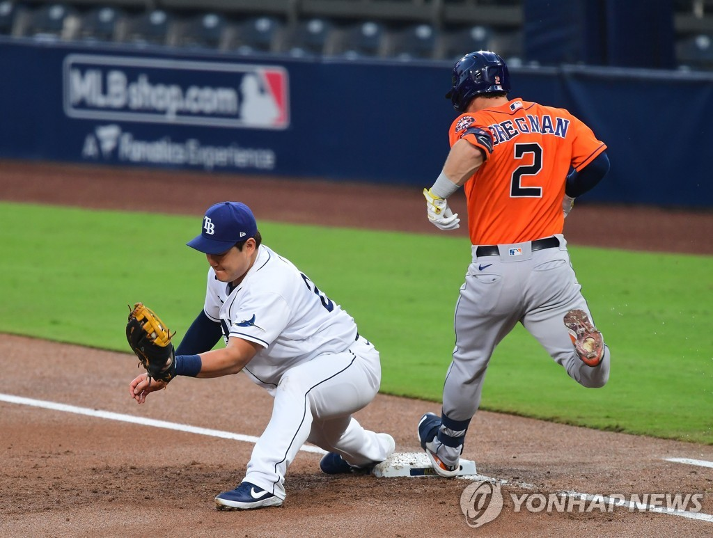 In this USA TODAY Sports photo via Reuters, Choi Ji-man of the Tampa Bay Rays (L) makes the catch at first base to retire Alex Bregman of the Houston Astros during the top of the second inning of Game 7 of the American League Championship Series at Petco Park in San Diego on Oct. 17, 2020. (Yonhap)