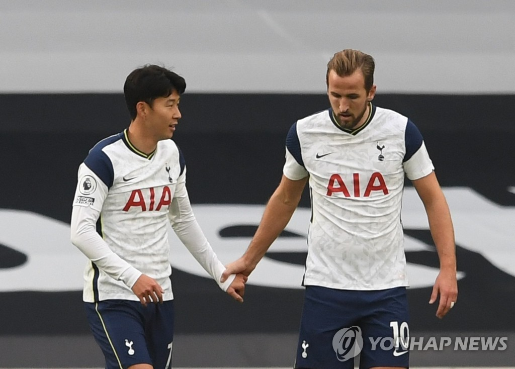 In this Reuters photo, Son Heung-min (L) and Harry Kane of Tottenham Hotspur celebrate Kane's goal against West Ham United during a Premier League match at Tottenham Hotspur Stadium in London on Oct. 18, 2020. (Yonhap)
