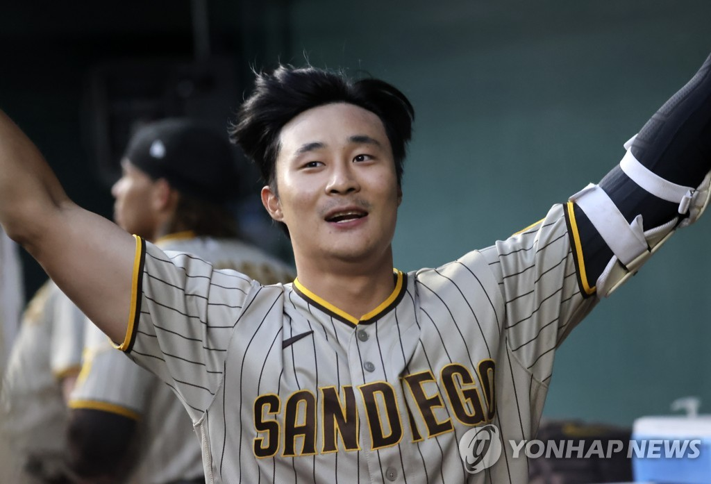 In this USA Today Sports photo via Reuters, Kim Ha-seong of the San Diego Padres celebrates his home run against the Texas Rangers during the top of the fifth inning of a Major League Baseball regular season game at Globe Life Field in Arlington, Texas, on April 10, 2021. (Yonhap)