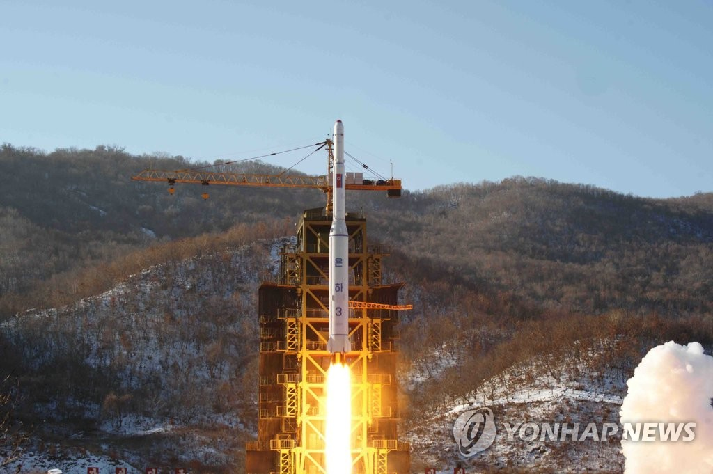 This file photo from December 2012, released by the North's Korean Central News Agency at the time, shows a North Korean long-range rocket, the Unha-3, being launched from the Dongchang-ri site. South Korean President Moon Jae-in said after his summit talks with the North's leader Kim Jong-un in Pyongyang on Sept. 19, 2018, that the North will permanently close down the site, as well as the Yongbyon nuclear facilities. (For Use Only in the Republic of Korea. No Redistribution) (Yonhap)