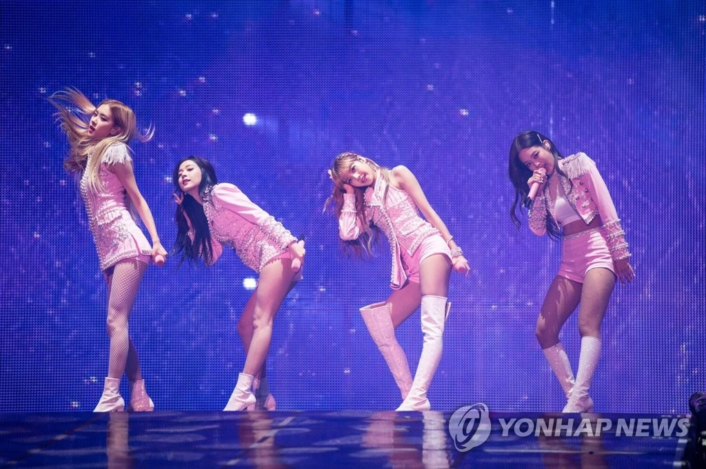 This photo provided by YG Entertainment shows BLACKPINK performing in a concert at Olympic Gymnastics Arena in Olympic Park in Seoul on Nov. 10, 2018. (Yonhap)