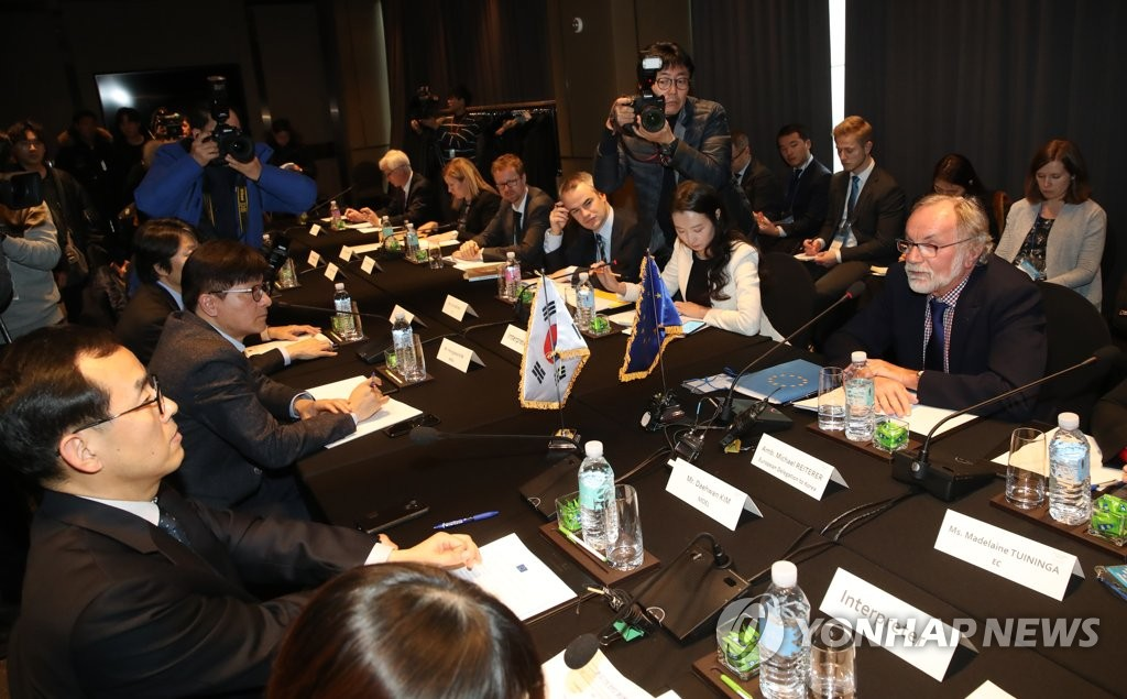 This photo, taken on Jan. 21, 2019, shows officials from the South Korean government and the European Union (EU) holding discussions over the EU's call for Seoul to ratify International Labor Organization conventions. (Yonhap)
