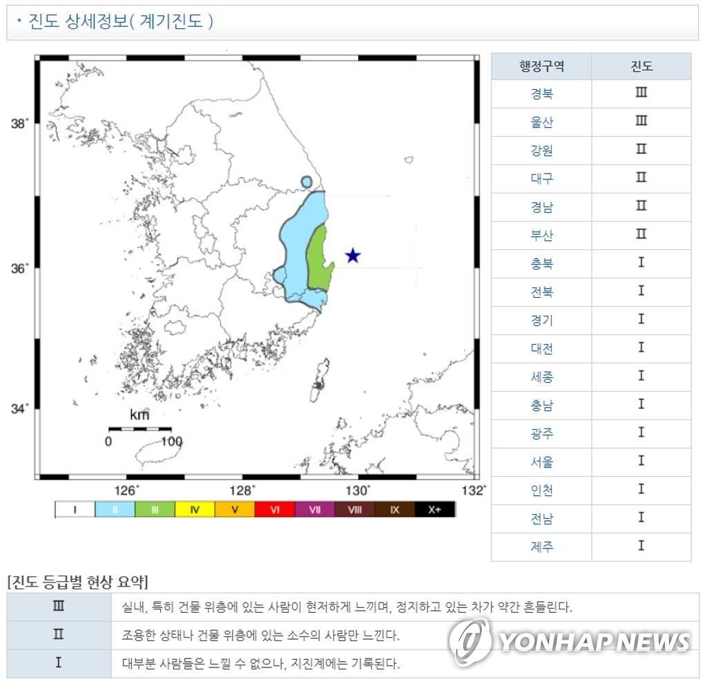 포항 앞바다서 규모 4.1 지진