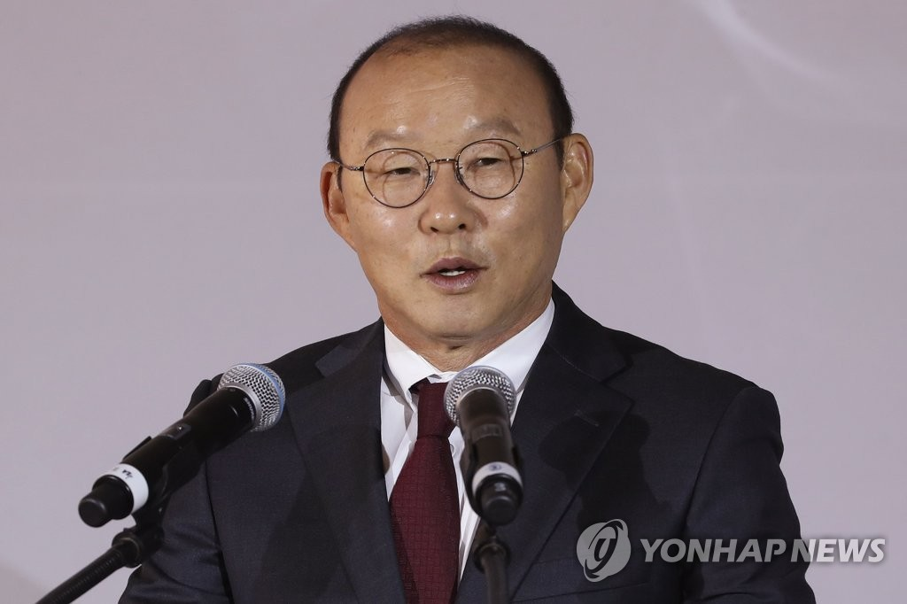 In this file photo from Feb. 12, 2019, Park Hang-seo, South Korean coach of the Vietnamese men's national football team, speaks at a corporate event in Seoul. (Yonhap)