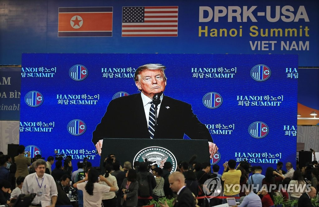President Trump gives a press conference after failing to reach a deal at his second summit with North Korean leader Kim Jon-un in Hanoi on Feb. 28, 2019. (Yonhap)