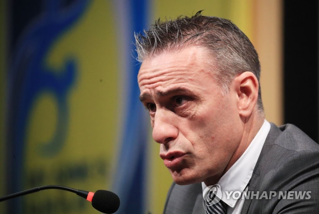 South Korea national football team head coach Paulo Bento speaks at a press conference at the National Football Center in Paju, north of Seoul, on March 11, 2019. (Yonhap)