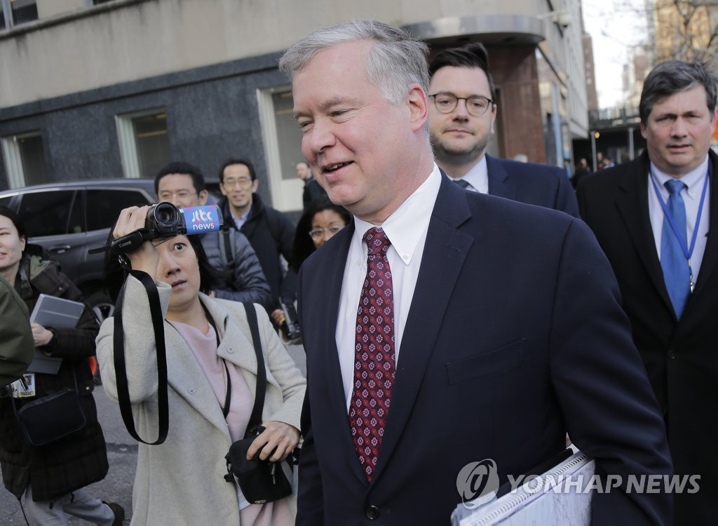 This AP photo shows Special Representative for North Korea Stephen Biegun arriving at the U.S. Mission to the United Nations for a meeting in New York on March 14, 2019. (Yonhap)