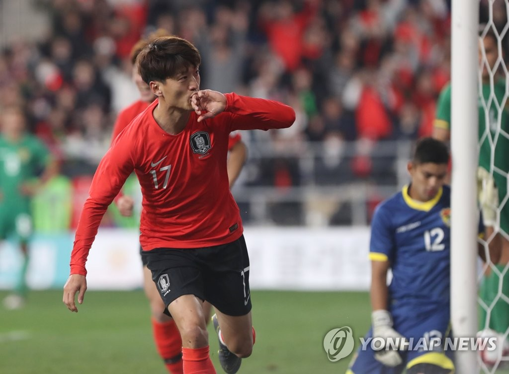 Lee Chung-yong of South Korea celebrates his goal against Bolivia in a men's friendly football match at Munsu Football Stadium in Ulsan, 400 kilometers southeast of Seoul, on March 22, 2019. (Yonhap)