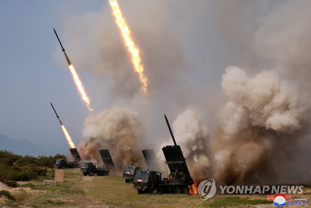 "North Korea conducts a drill of multiple rocket launchers and tactical guided weapons ""in the forefront area and on the eastern front"" on May 4, 2019, in this photo released by the Korean Central News Agency the next day. (For Use Only in the Republic of Korea. No Redistribution) (Yonhap)"
