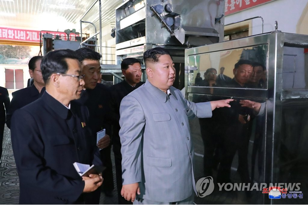 North Korean leader Kim Jong-un inspects the Jangjagang Machine Tool Factory in Jagang Province bordering China in this photo released on June 1, 2019, by the North's official Korean Central News Agency. (For Use Only in the Republic of Korea. No Redistribution) (Yonhap)