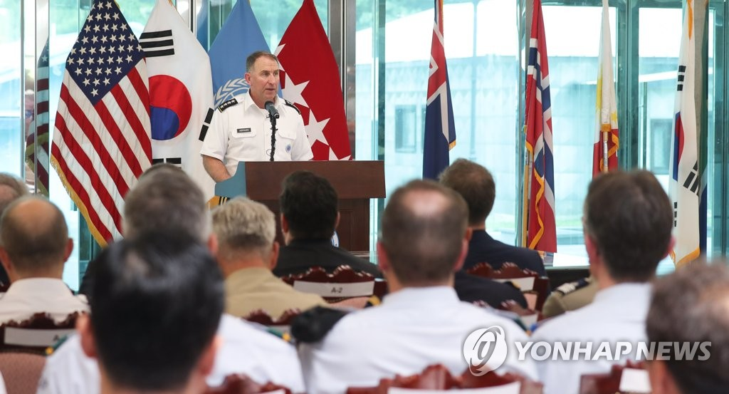 This file photo shows U.S. Gen. Robert Abrams, head of the United Nations Command, speaking at an event marking the 66th anniversary of the signing of the 1950-53 Korean War armistice agreement, at the Freedom House in the inter-Korean border village of Panmunjom on July 27, 2020. (Joint Press Corps)