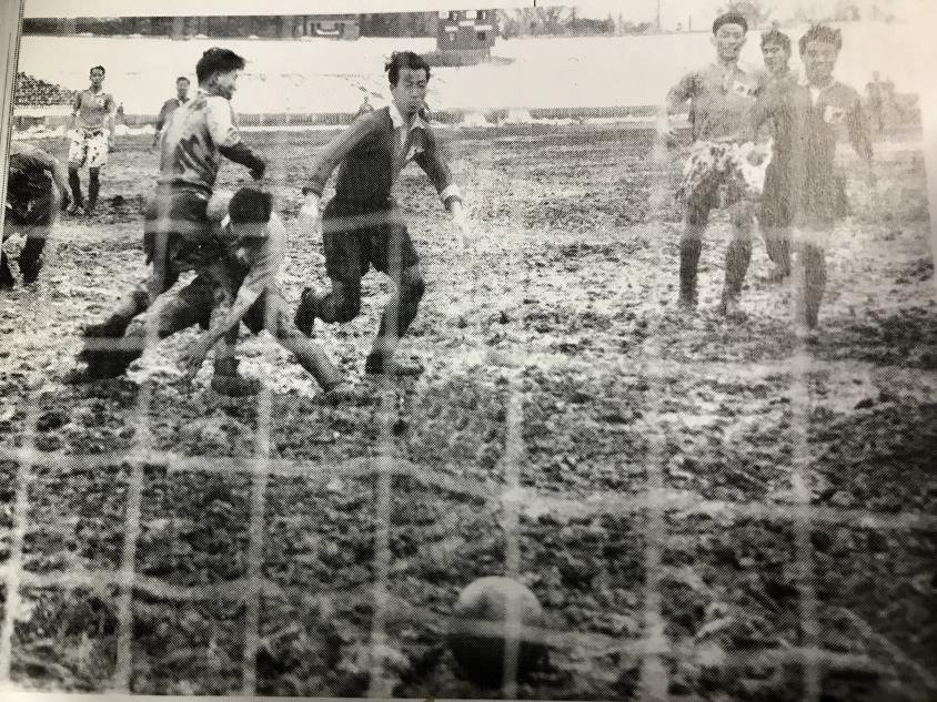 This photo provided by the Korea Football Association on Aug. 14, 2019, shows South Korea in action against Japan in Tokyo in a qualifying match for the 1954 FIFA World Cup. (PHOTO NOT FOR SALE) (Yonhap)