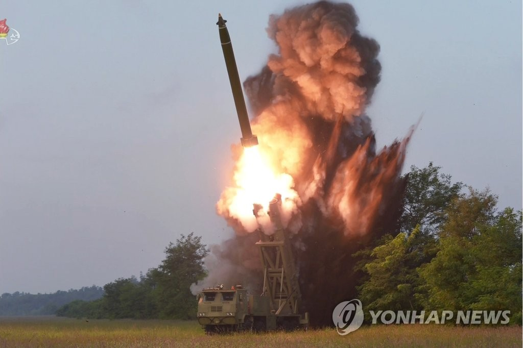 This photo released by North Korea's state media on Sept. 11, 2019, shows the test-firing of what it calls a super-large multiple rocket launcher the previous day. (For Use Only in the Republic of Korea. No Redistribution) (Yonhap)