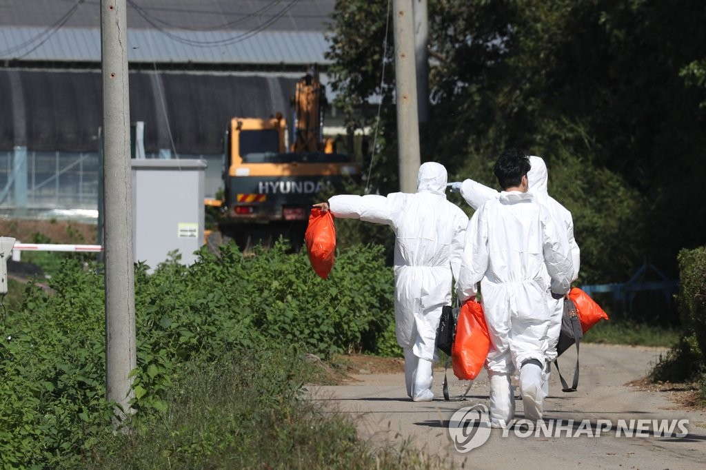 Quarantine officials enter a pig farm in Yeoncheon, 62 kilometers north of Seoul, on Sept. 18, 2019, as South Korea's second case of African swine fever was confirmed there earlier in the day. (Yonhap)
