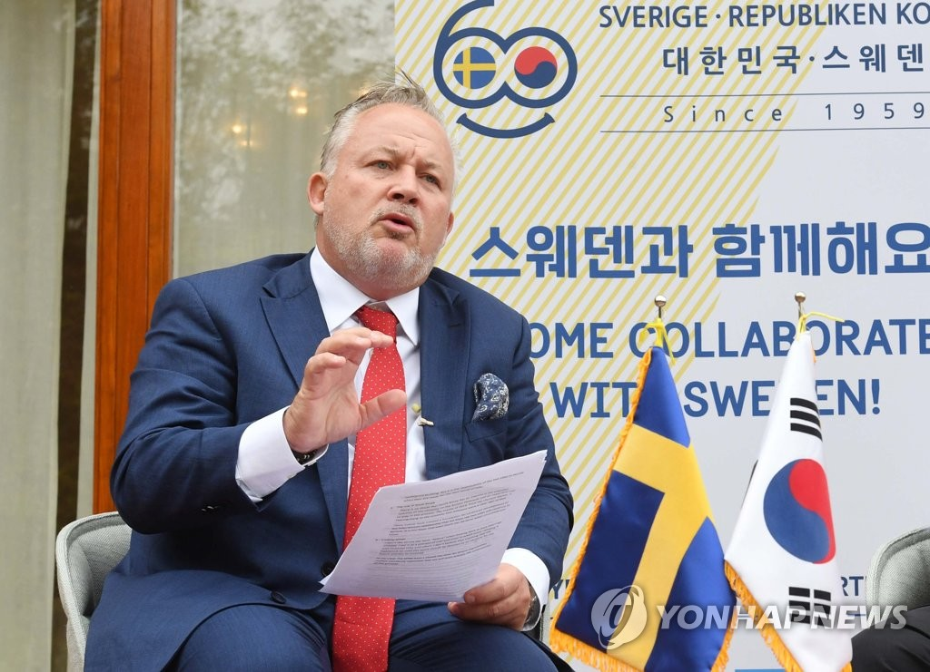 Kent Harstedt, Sweden's special envoy for the Korean Peninsula, speaks during a press conference at the Swedish Embassy in Seoul on Oct. 23, 2019. (Pool photo) (Yonhap)