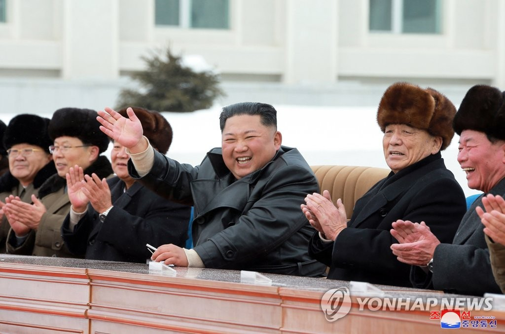 North Korean leader Kim Jong-un (C) acknowledges the crowd during a ceremony marking the completion of the township of Samjiyon at the foot of Mount Paekdu in northern North Korea on Dec. 2, 2019, in this photo released by the North's Korean Central News Agency. (For Use Only in the Republic of Korea. No Redistribution) (Yonhap)