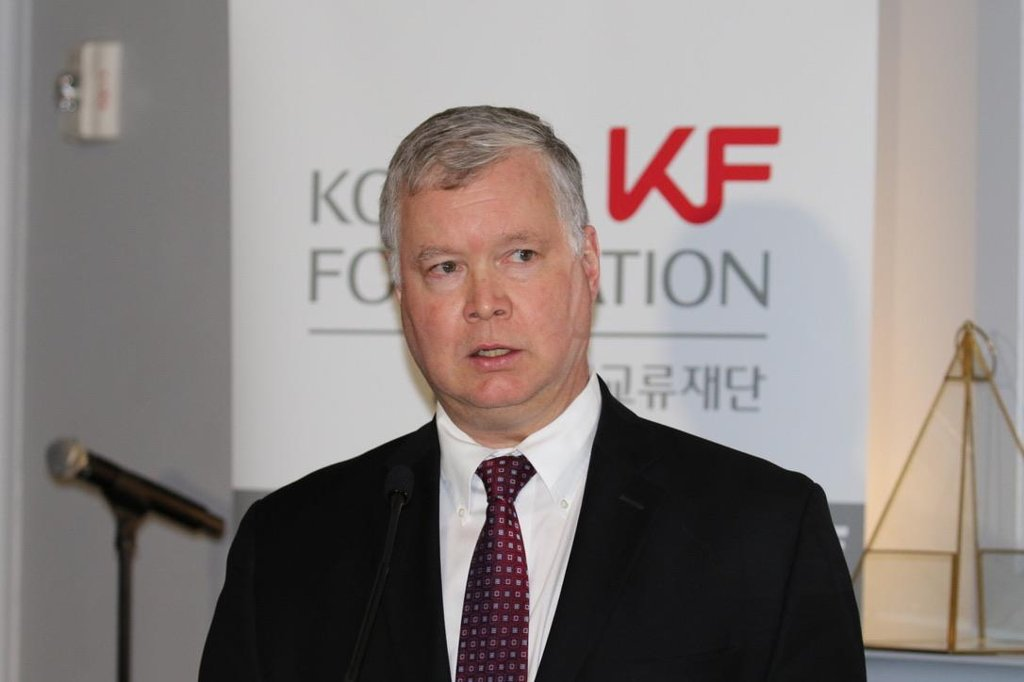 This photo, taken on Dec. 3, 2019, shows U.S. Special Representative Stephen Biegun speaking during an event organized by the Korea Foundation in Washington. (Yonhap)