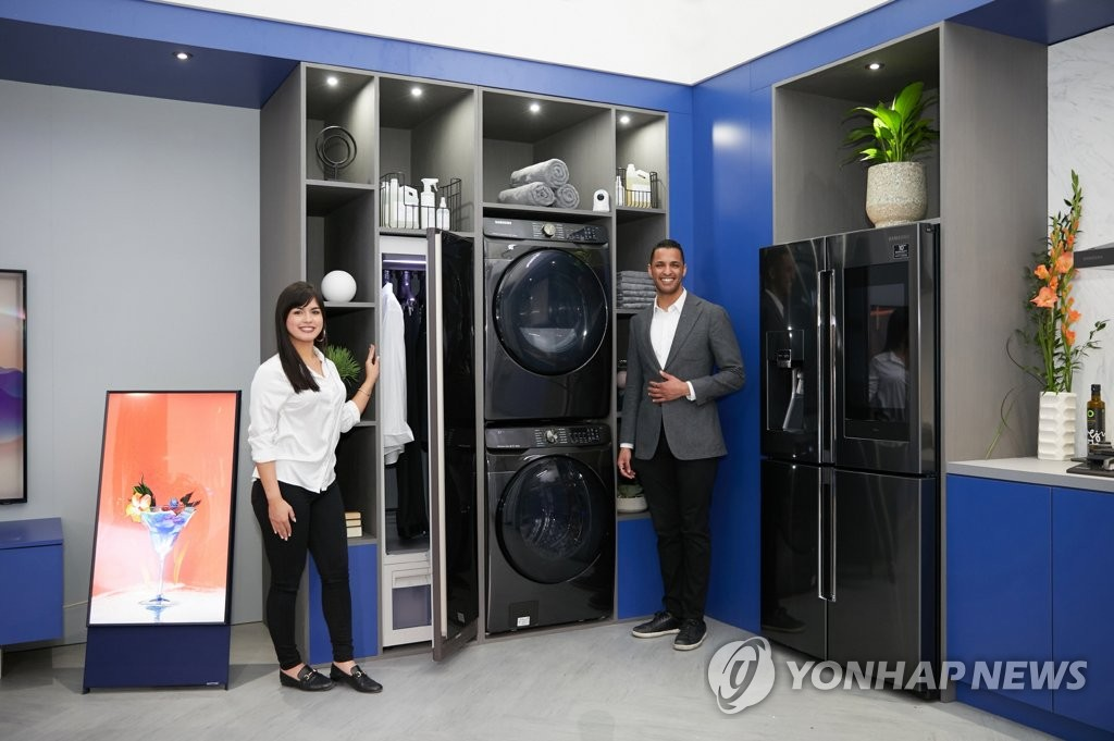 This photo provided by Samsung Electronics Co. on Feb. 5, 2020, shows the company's home appliance products displayed at KBIS 2020 in the United States. (PHOTO NOT FOR SALE) (Yonhap)