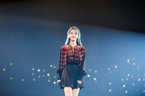 This file photo, provided by Kakao M, shows soloist IU. (PHOTO NOT FOR SALE) (Yonhap)