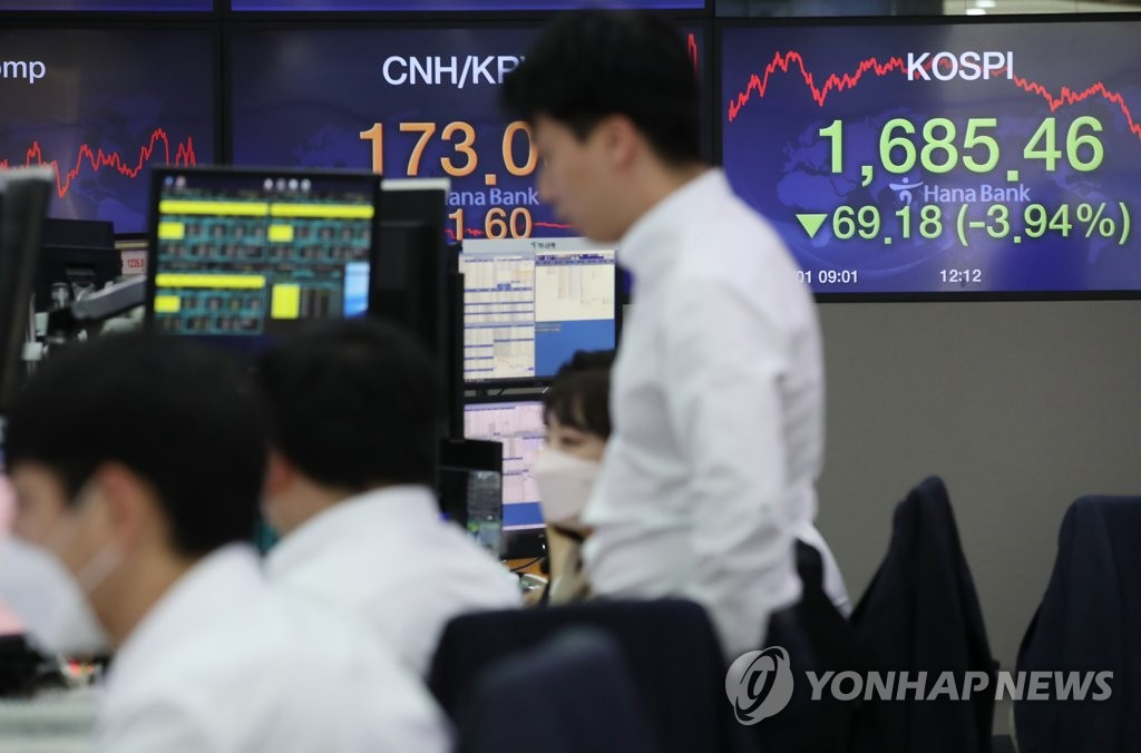 Dealers work in the trading room of Hana Bank in Seoul on April 1, 2020. The benchmark Korea Composite Stock Price Index (KOSPI) plunged 69.18, or 3.94 percent, to close at 1,685.46. (Yonhap)