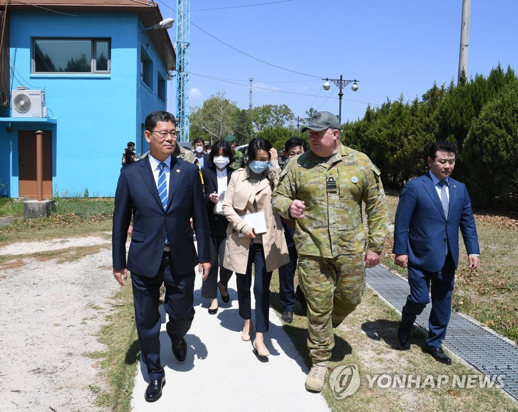Unification Minister Kim Yeon-chul (L) visits the inter-Korean truce village of Panmunjom on May 6, 2020, in this photo provided by his office. (PHOTO NOT FOR SALE) (Yonhap)