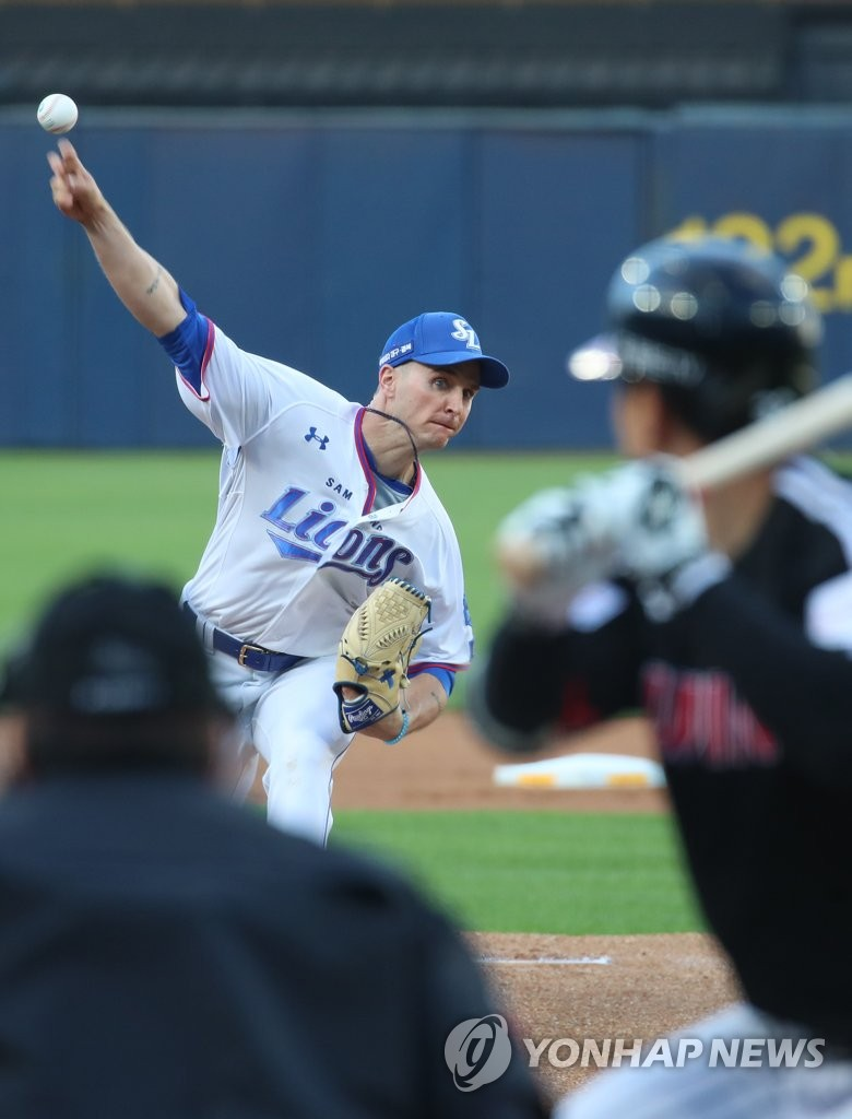 In this file photo from May 19, 2020, David Buchanan of the Samsung Lions pitches against the LG Twins in a Korea Baseball Organization regular season game at Daegu Samsung Lions Park in Daegu, 300 kilometers southeast of Seoul. (Yonhap)