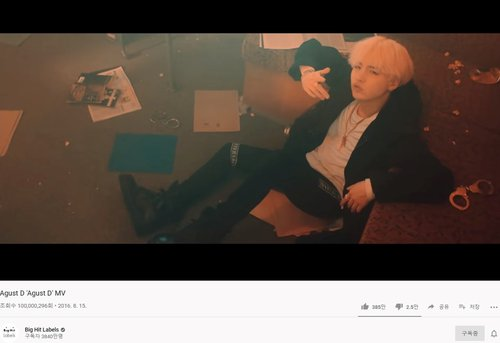 Suga's 'August D' hits 100 mln YouTube views