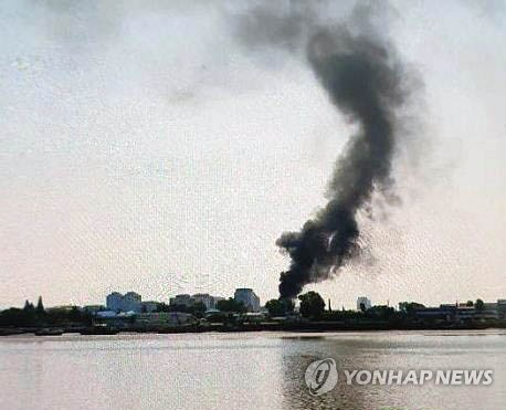 Freight train fire in N.K.