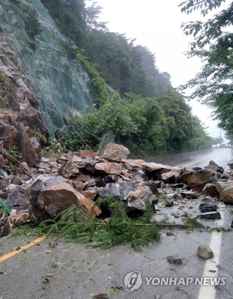 Rockslide caused by downpour