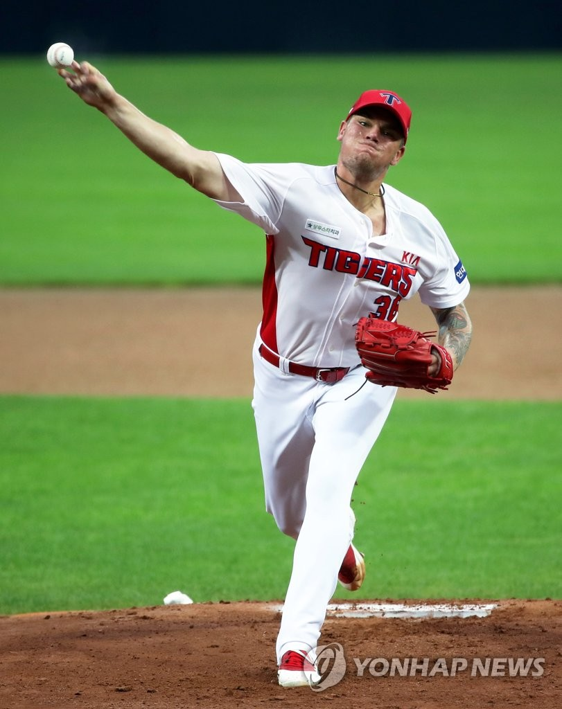 In this file photo from Sept. 1, 2020, Aaron Brooks of the Kia Tigers pitches against the Samsung Lions in a Korea Baseball Organization regular season game at Gwangju-Kia Champions Field in Gwangju, 330 kilometers south of Seoul. (Yonhap)