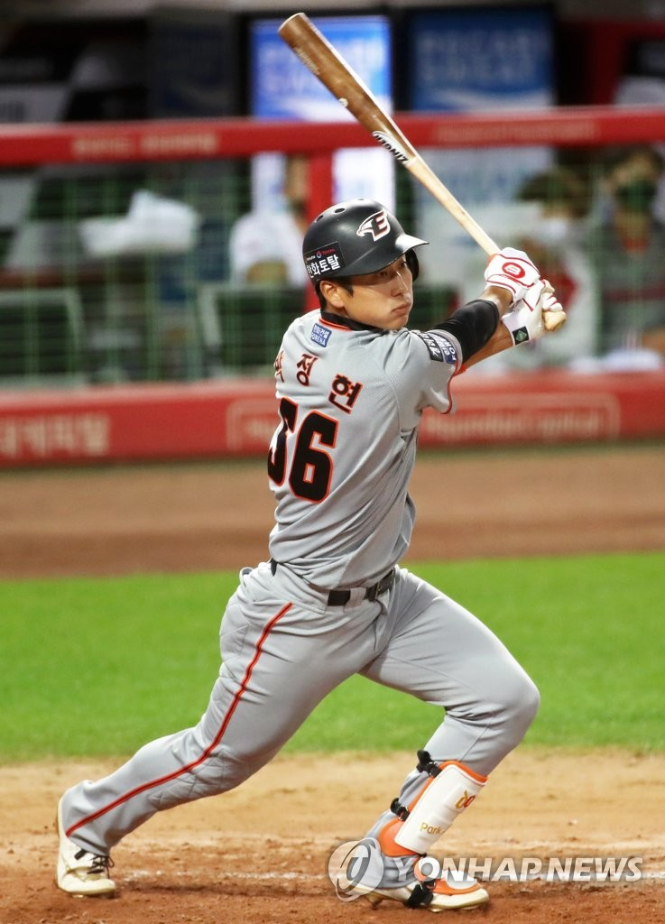 In this file photo from Oct. 8, 2020, Park Jung-hyun of the Hanwha Eagles hits an RBI double against the Kia Tigers in the top of the third inning of a Korea Baseball Organization regular season game at Gwangju-Kia Champions Field in Gwangju, 330 kilometers south of Seoul. (Yonhap)