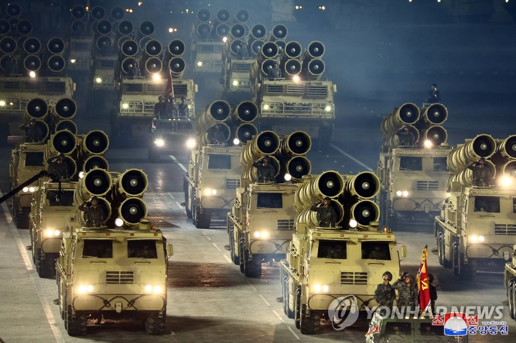 This photo released by North Korea's Korean Central News Agency shows rocket launcher vehicles during a military parade held at Kim Il-sung Square in Pyongyang on Oct. 10, 2020, to mark the 75th founding anniversary of the Workers' Party. (For Use Only in the Republic of Korea. No Redistribution) (Yonhap)