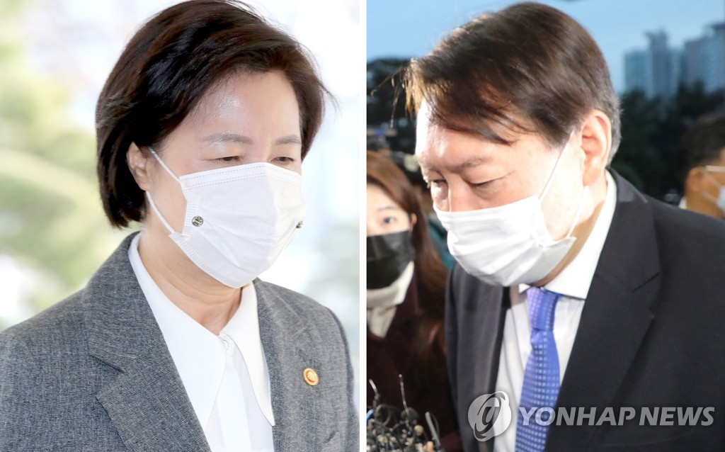 This combined photo shows Justice Minister Choo Mi-ae (L) and Prosecutor General Yoon Seok-youl. (Yonhap)
