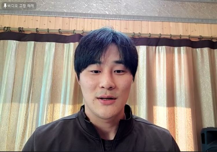Kim Ha-seong of the San Diego Padres speaks to reporters in a Zoom press conference held on Jan. 6, 2021, in this screengrab from the session. (PHOTO NOT FOR SALE) (Yonhap)