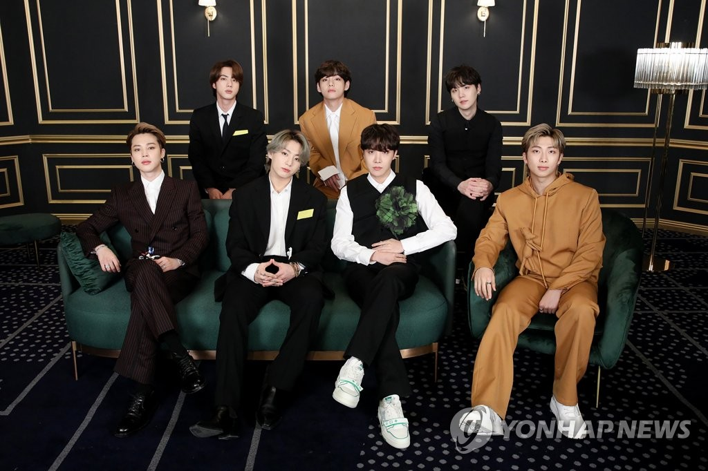 This photo, provided by Big Hit Music, shows K-pop megastar BTS hitting the red carpet online as it takes part in the 63rd Grammy Awards amid the coronavirus pandemic on March 15, 2021. (PHOTO NOT FOR SALE) (Yonhap)